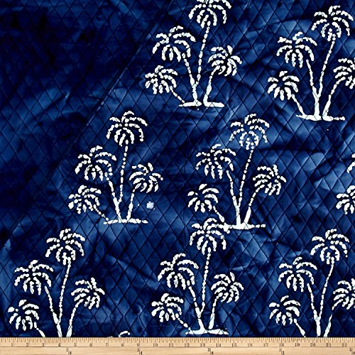 Indian Batik Double Face Quilted Palm Trees White Fabric By The Yard