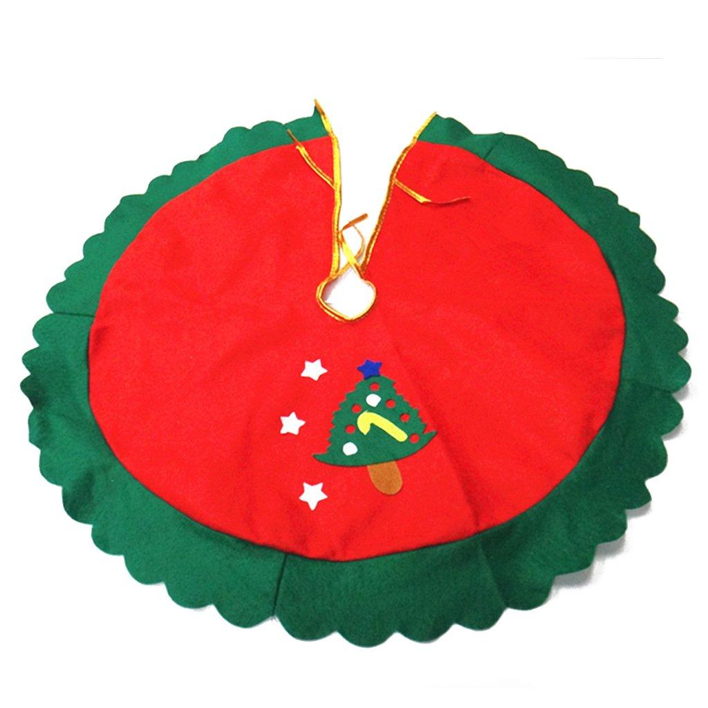 cm Falda Decoración Estrella de Árbol Navidad Borde Ondulado Verde