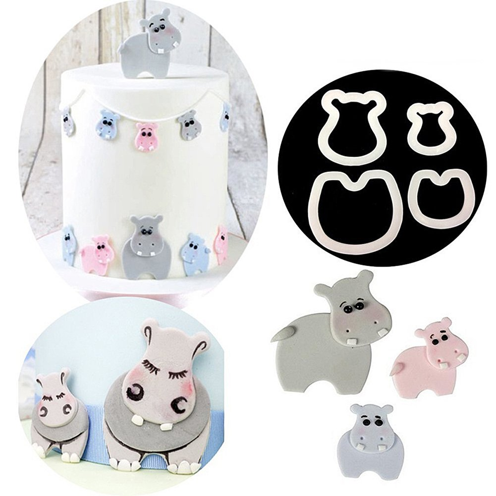 Finance Plan The Latest 4Pcs Cartoon Hippo Sugarcraft Fondant Biscuits Cookie Cake Molds Baking Tools