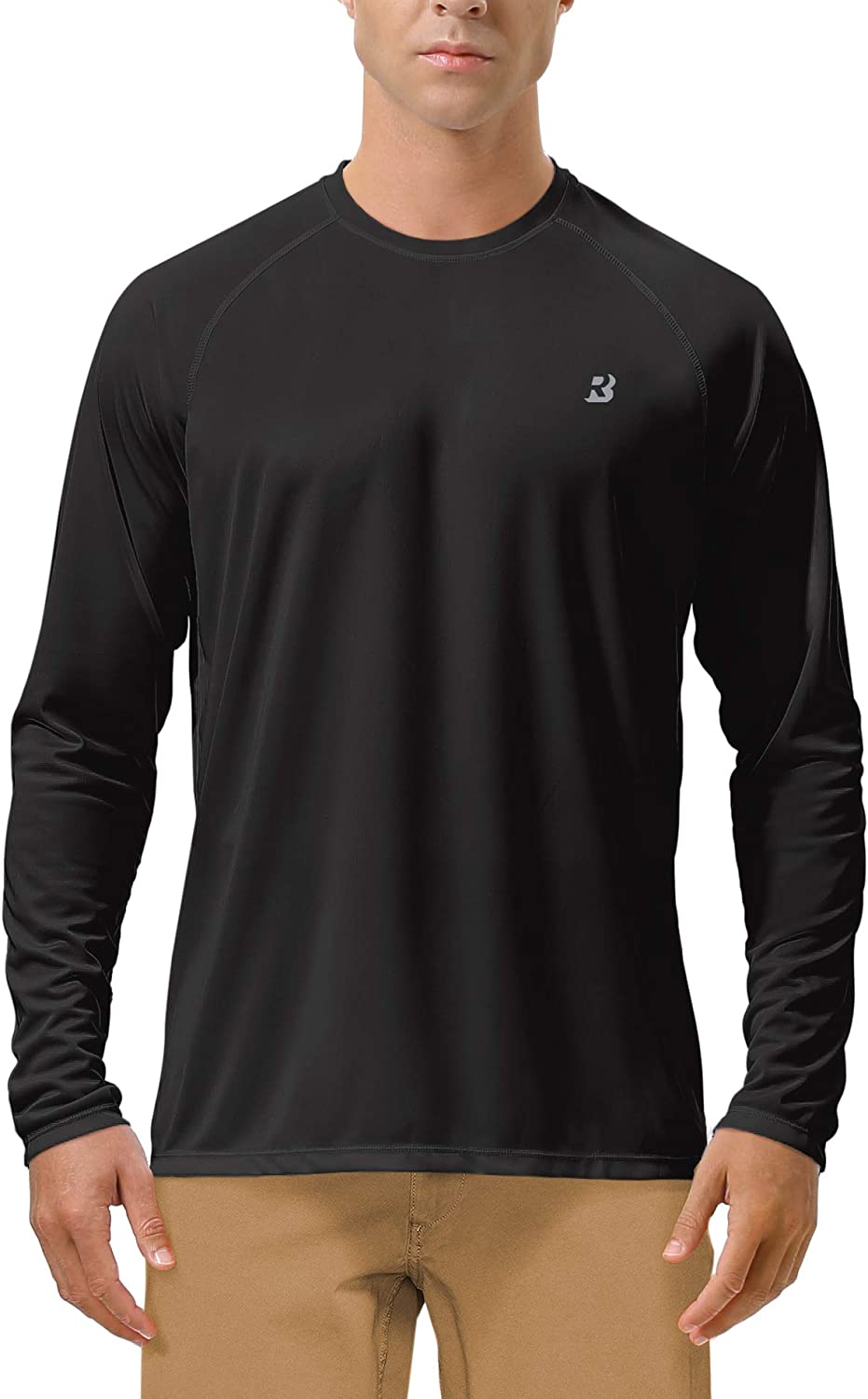 Roadbox Men's Long Sleeve Sun Protection UPF 50+ UV Outdoor Dri-fit T-Shirt Rashguard for Running, Fishing, Hiking
