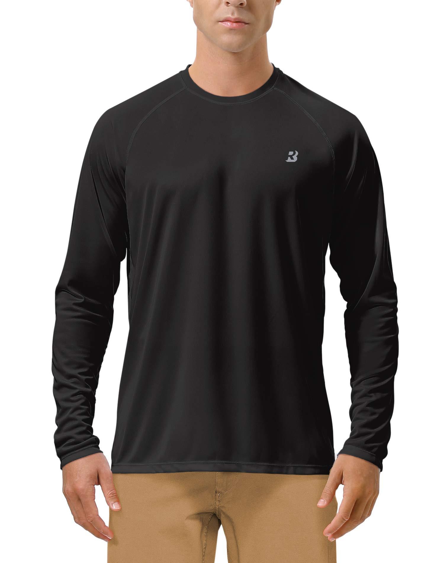 Roadbox Men's Sun Protection UPF 50+ UV Outdoor Long Sleeve Dri-fit T-Shirt Rashguard for Running, Fishing, Hiking(Small, Black) by Roadbox