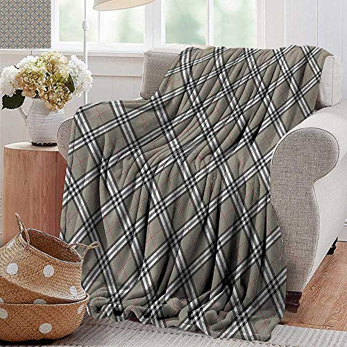 PearlRolan Faux Fur Throw Blanket,Abstract,Royal Scottish Tartan Featured Ethnic Tribal Aristocrat Medieval Design,Grey Black White,Soft Fabric for Couch Sofa Easy Care 60