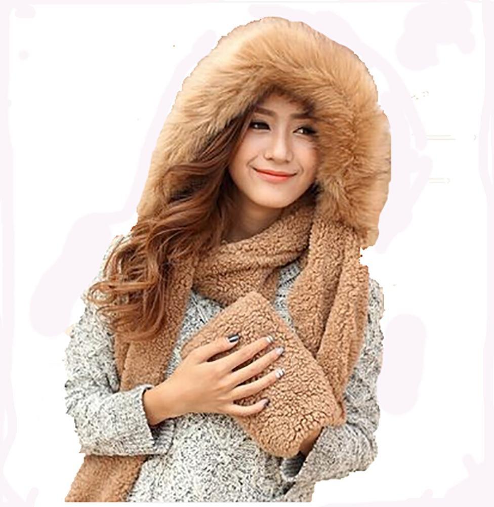 SALY Guante grueso de la bufanda del sombrero del invierno de la capa caliente