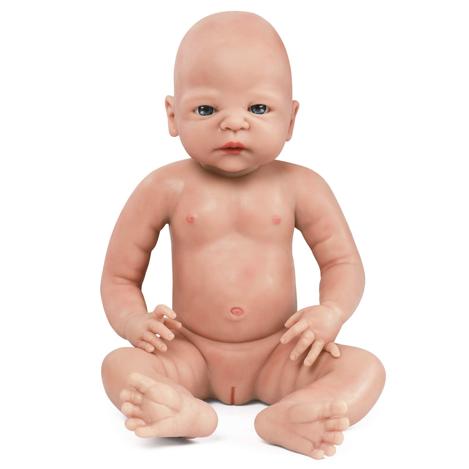 IVITA Full Body Silicone Reborn Baby Doll Realistic Newborn Baby Doll Handmade Blue Eyes Doll Collector Collection Girl 19 inch 8.36 lb