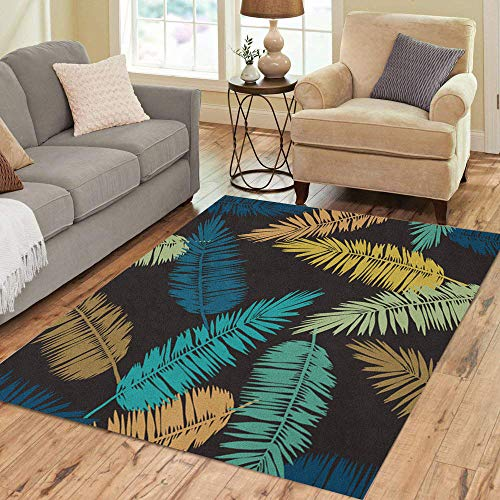 Semtomn Area Rug 2' X 3' Exotic Floral Pattern Palm Leaves Jungle Foliage Gold Home Decor Collection Floor Rugs Carpet for Living Room Bedroom Dining Room