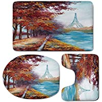3 Piece Bath Mat Rug Set,Art,Bathroom Non-Slip Floor Mat,Eiffel-Tower-View-from-Seine-River-in-Autumn-Romantic-Paris-Day-in-Fall-Cityscape-Print-Decorative,Pedestal Rug + Lid Toilet Cover + Bath Mat,M