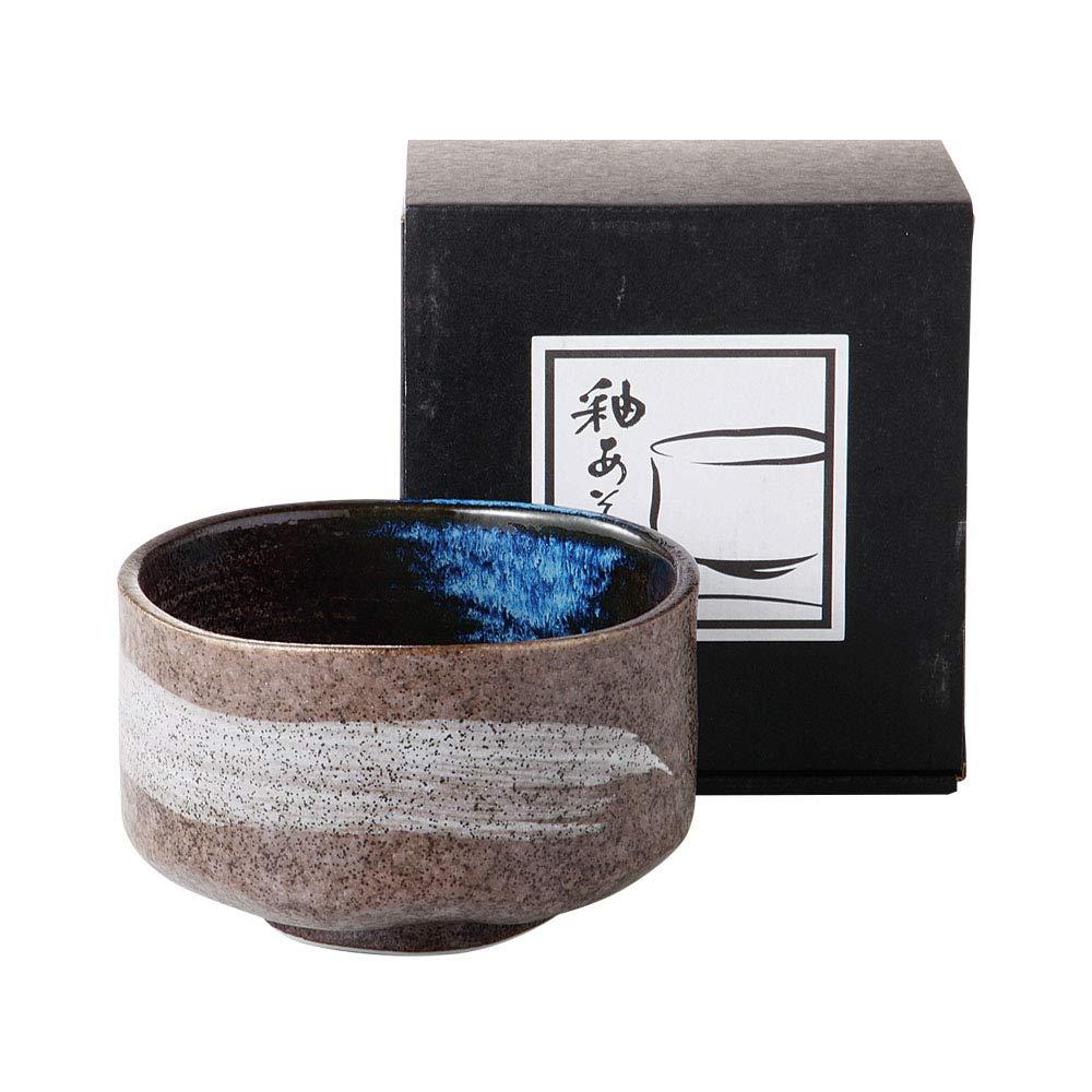 Grey Minoyaki Matcha Bowl with Brush Stroke and Glossy Blue interior''Ochawan'' Made in Japan