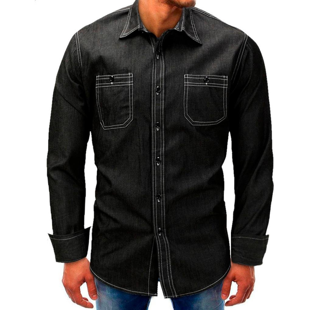 Clearance Sale Men Denim Tops vermers Mens Casual Long-Sleeve Beefy Button Basic Solid Blouse Tee Shirts(2XL, Black)
