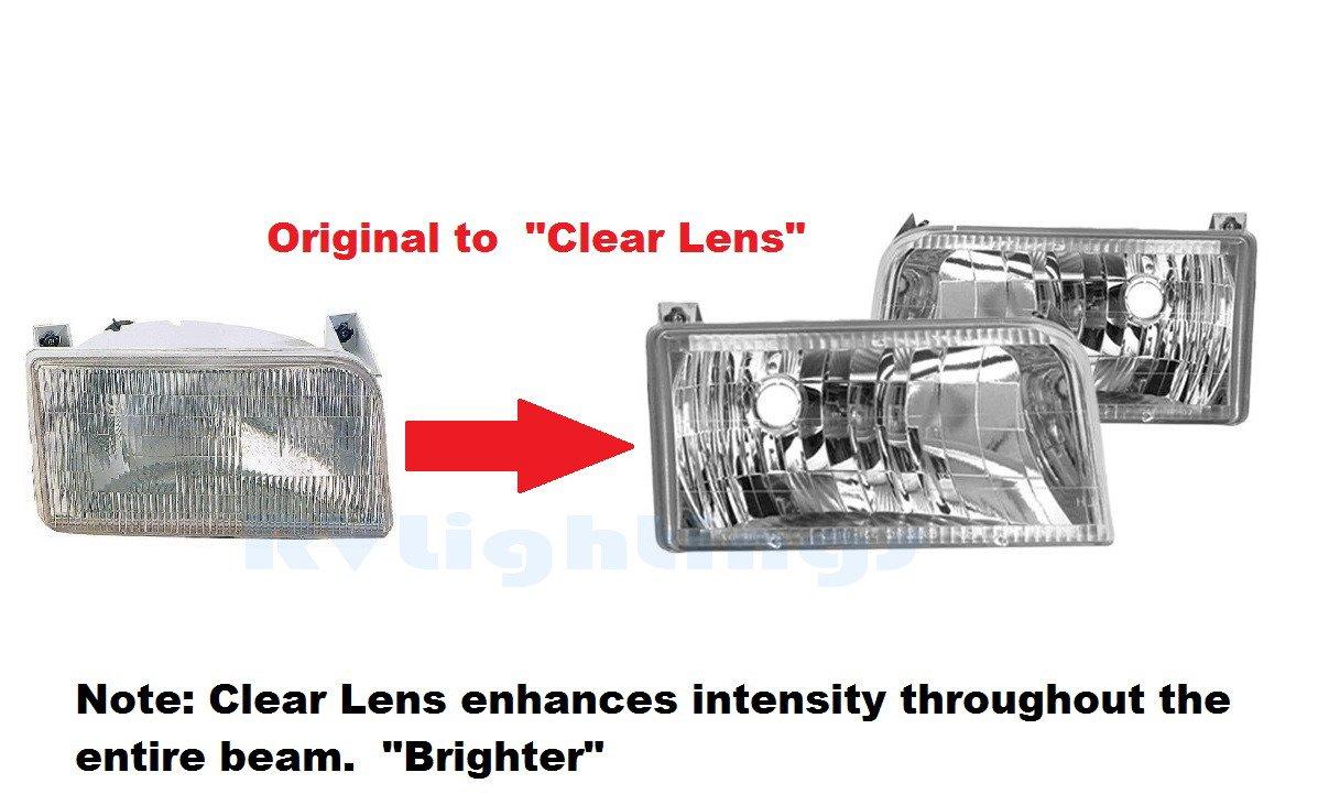 RVLightings Fleetwood Bounder (GAS) 2000-2002 RV Motorhome Pair (Left & Right) Diamond Clear Headlights