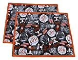 14″ x18″ BBQ Placemat – Set of 2 – Orange BBQ Writing On a Smokey Gray Fabric