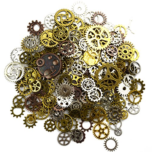 Price comparison product image Aokbean 150 Gram Assorted Vintage Mixed Color Metal Steampunk Jewelry Making Charms Cog Watch Wheel (Mixed Color)