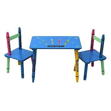 Oypla Niños Madera tiza mesa y sillas conjunto de muebles de ...