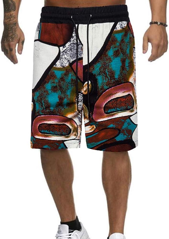 keephen Pantalones Cortos de Lino con Estampado de Estilo étnico para Hombres Pantalones Cortos Sueltos de Vacaciones en la Playa