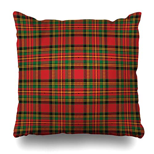 DIYCow Throw Pillow Covers Scottish Green Christmas Red Tartan Pattern Classic Plaid Abstract Black British Checkered Home Decor Pillowcase Square Size 18 x 18 Inches Zippered Cushion -