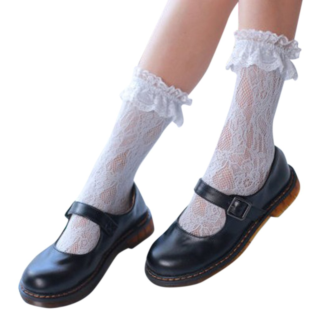 Women Girl Leisure Soft Lace Socks Fashion Mesh Sheer Breathable Short Silk Stockings ShiningLove