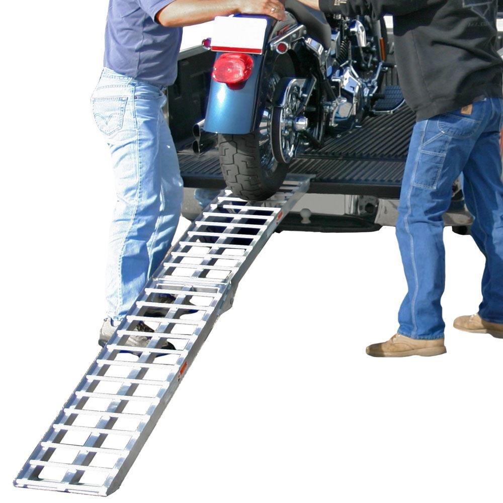 Black Widow AF-9012-HD Deluxe Folding Single Runner Motorcycle Ramp - Plate-Style Lip, 1,500lb. Capacity