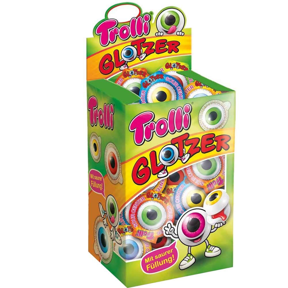 Trolli Glotzer (752g) - 40 foam sugar and fruit gum candies in eyeball shape with liquid extrasaurer filling by Trolli