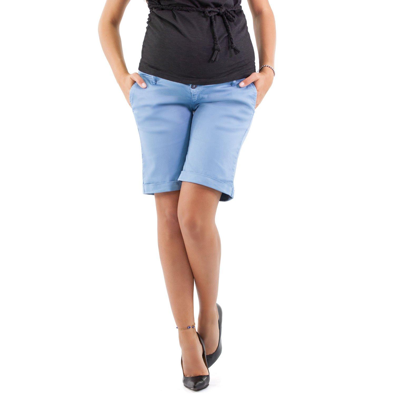 Pisa Maternity Bermuda Shorts, Cool Bermudas - Made in Italy (XL, Light Blue)