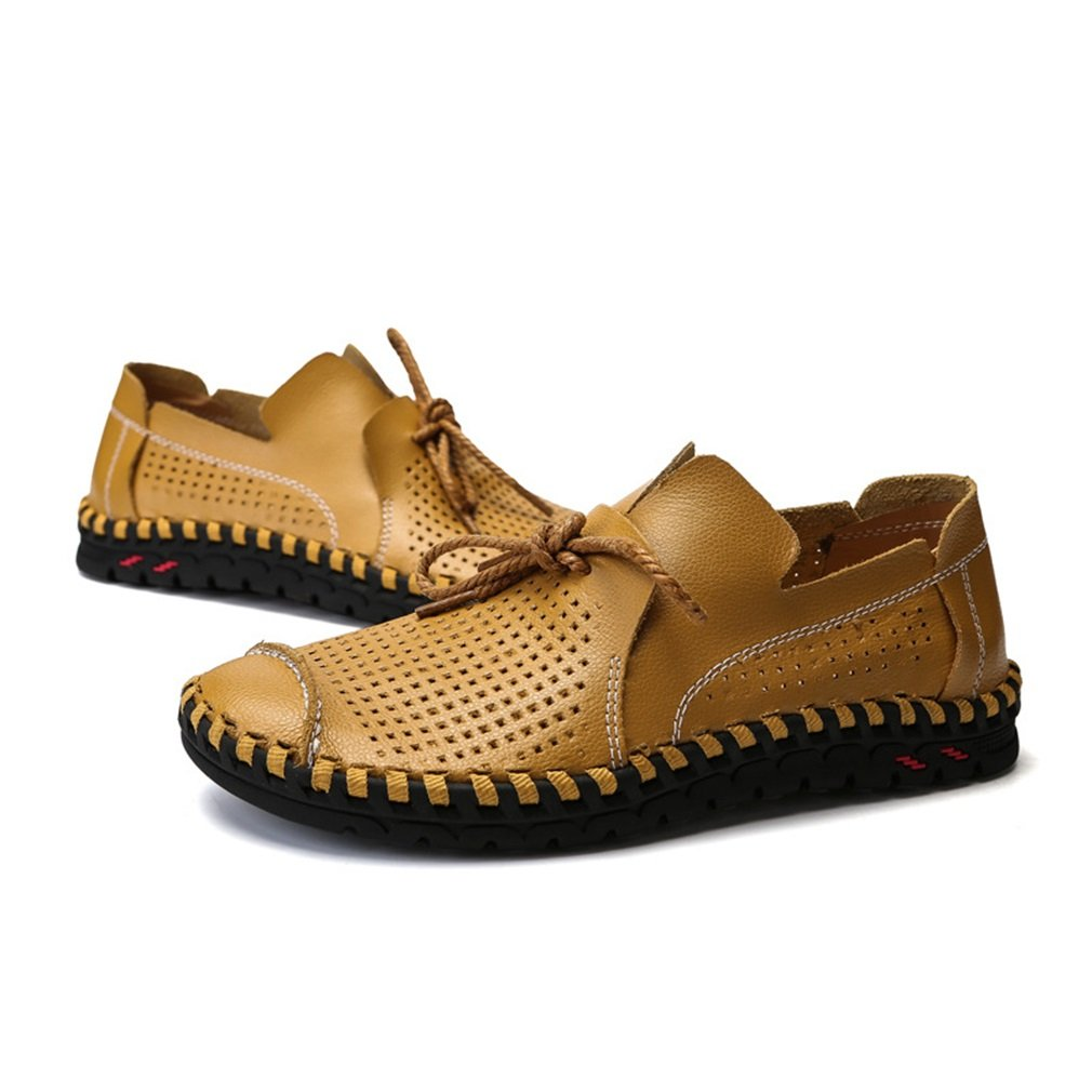 YAN Herren Schuhe Leder Smart Casual Schuhe Breathable Weiß, Casual Lace-up Driving Schuhe Weiß, Breathable Schwarz, Gelb (Farbe : E, Größe : 40) E c076a7