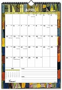 """TOWWI Monthly Wall Calendar, 2020 - June 2021 Desk Calendar, 12"""" x 17"""" Wirebound Calendar for School Home Office"""