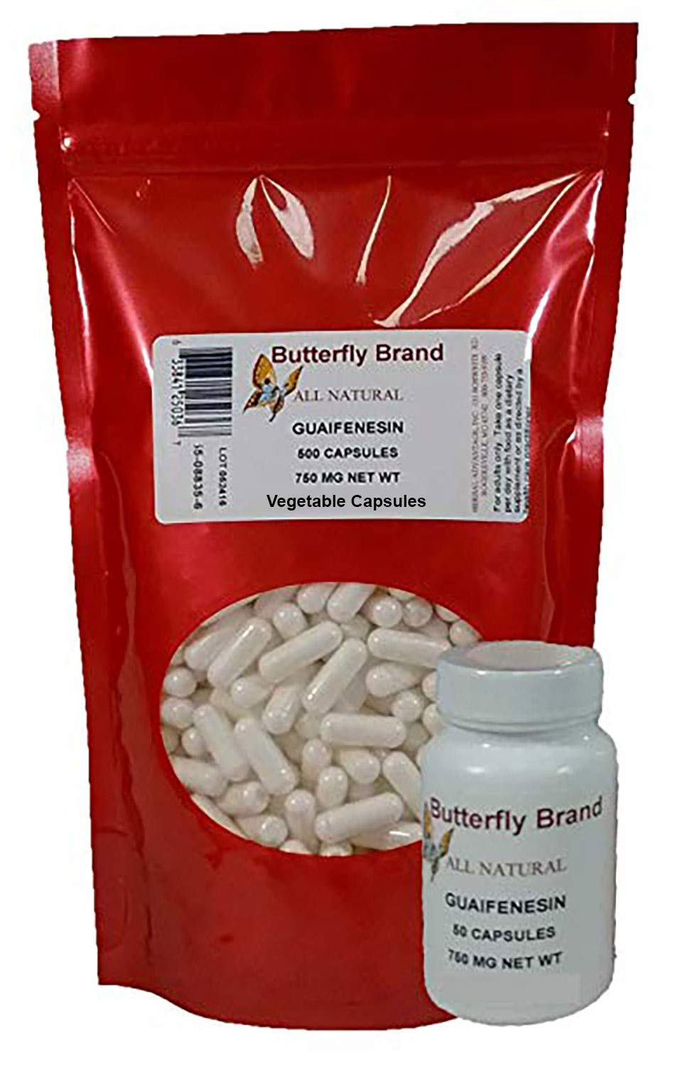 550 Guaifenesin 750mg Vegetable Capsules 1 Bag of 500 and Carry Around Bottle of 50
