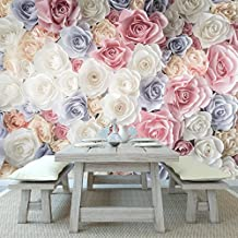 Paper Roses Pink, Purple, White Flowers Floral Wall Mural Nature Photo Wallpaper available in 8 Sizes XX-Large Digital