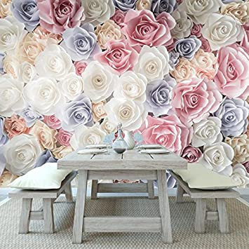 Pink Rose Flowers Wall Mural White Blue Floral Photo Wallpaper Girls Home  Decor Available In 8
