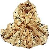 Vovotrade ✿Femmes Note Musicale Imprimé écharpes en Mousseline de Soie Chiffon 1PC