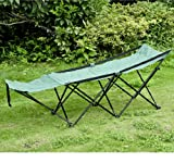 Outsunny Deluxe Folding Camping Cot w/ Carrying Bag – Green, Outdoor Stuffs