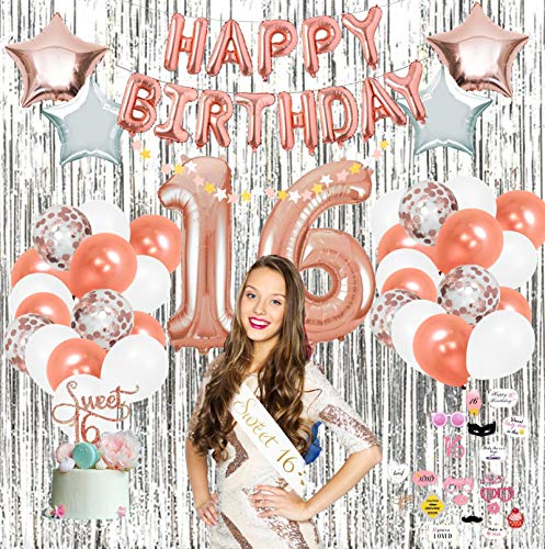 Sweet 16 Party Supplies by Serene Selection (pcs), Rose Gold Birthday Decorations for Girls, Photo Booth Props, Silver Fringe Foil Curtain, Cake Topper, Happy Birthday Balloons, Sash -