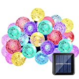 Qedertek Solar String Lights, 20ft 30LED Fairy Garden Crystal Globe Lights Decorative Lighting for Indoor and Outdoor, Home , Lawn, Garden, Patio, Party and Holiday Decorations (Multi Color)