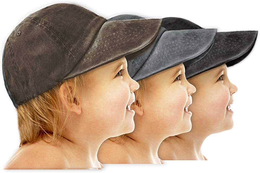 AVANTMEN Kids Baseball Cap Distressed Washed Sunhat Toddlers Little Boys Girls Cotton Hat 2-7 Years (3 Pack Black/Grey/Brown): Clothing