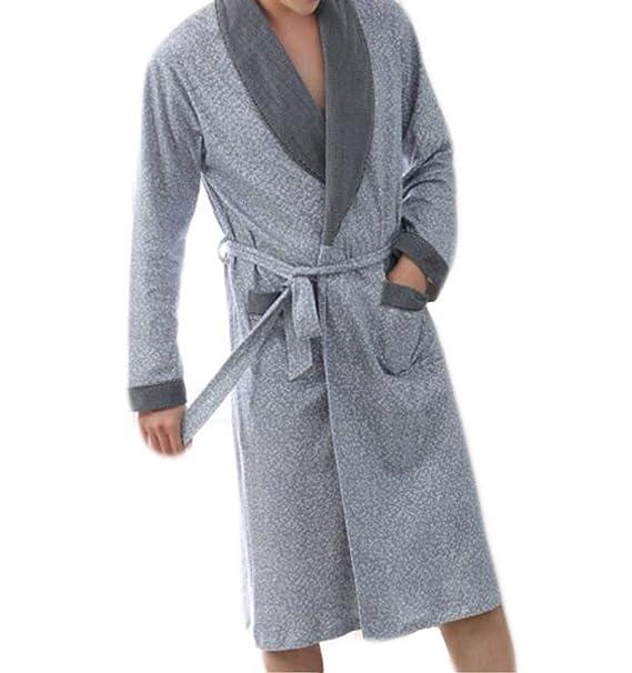 Primavera Y Otoño Albornoz De Algodón Para Hombres Albornoz Pijamas De Rebeca De Manga Larga,