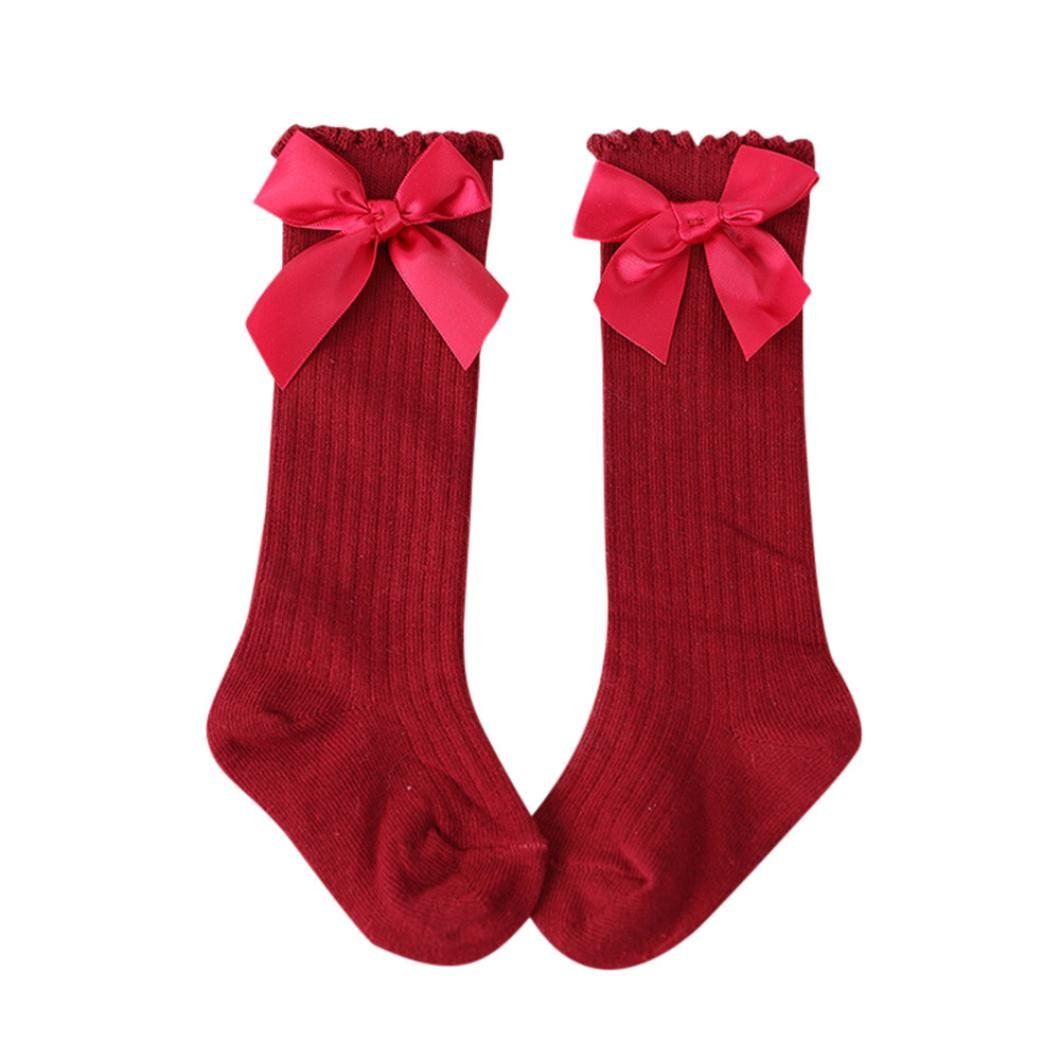Baby Socks, Xshuai® New Kids Toddlers Girls Big Bow Knee High Long Soft Cotton Lace Socks ❤️Style:Casual Fashion