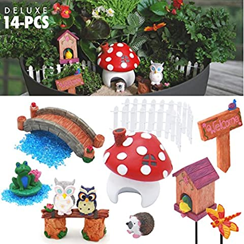 Yabani - Fairy Garden Supplies Kit - 14 Piece Deluxe Set for Outdoors or Indoors - Extra Sturdy Miniature Accessories. Eye-Catching Decorations for your (The Pixies Deluxe)