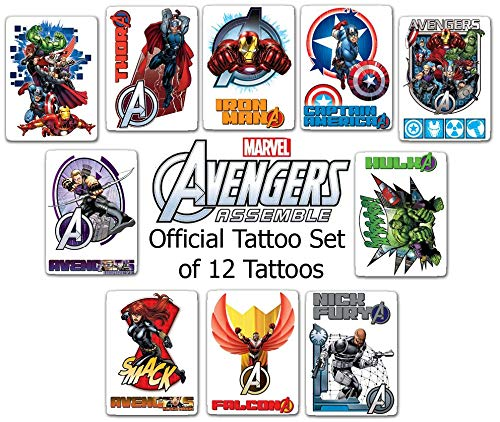 Avengers Assemble Set of 10 Tattoos - Great for Party Favors! 2.5x3.5 Inches ()