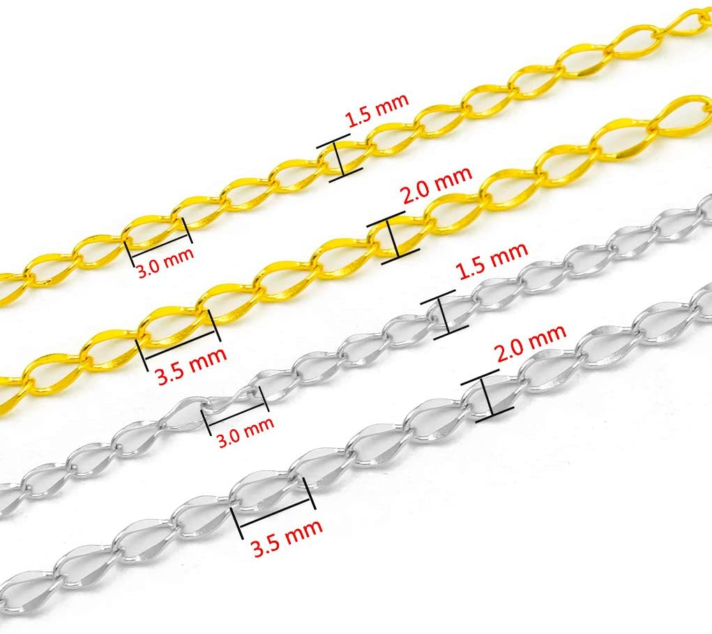 33FT Stainless Steel Jewelry Chains Silver Extender Chains Twisted Cable Chains Link Bulk for Jewelry Makings