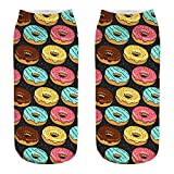 YOMXL Cute Donut Cartoon Crew Socks Casual Business 3D Digital Printing Socks Medium Sports Ankle Socks