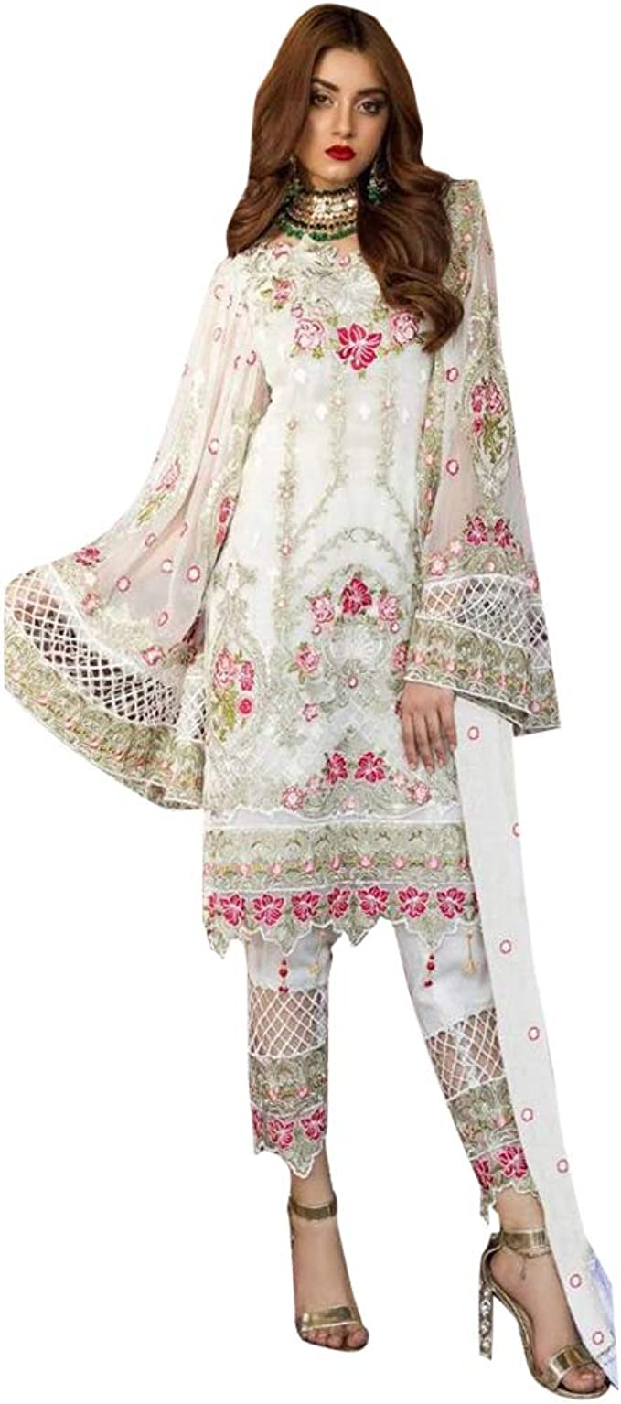 Amazon Com 9167 Indian White Ready To Wear Pakistani Dress Georgette Suit Heavy Embroidery Work Party Wedding Festive Wear Women Clothing