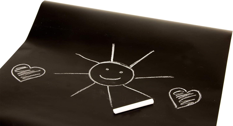 Kreidefolie Wandfolie K/ühlschrankfolie 3 Kreide-Stifte inkl Tafelfolie selbstklebend schwarz 200x45 cm zuschneidbar