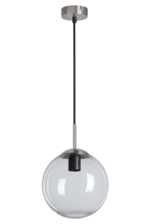 Briloner Leuchten - Pendelleuchte, Pendellampe mit rundem klaren Glas, Metall, 40 Watt, Matt-Nickel 4010-010
