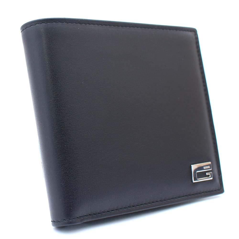 グッチ GUCCI Gプレート 03404160837 二つ折り財布 ブラック ユニセックス レザー [中古] B07QYDR5Y6