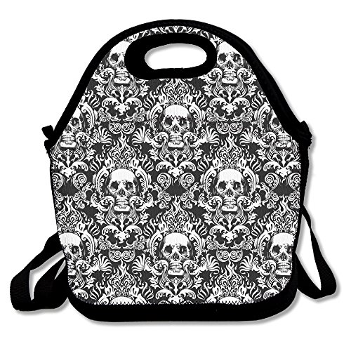 Vintage Skull Lunch Box Bag For Kids And Adult,lunch Tote Lunch Holder With Adjustable Strap For Men Women Boys Girls,This Design For Portable, Oblique Cross,double Shoulder