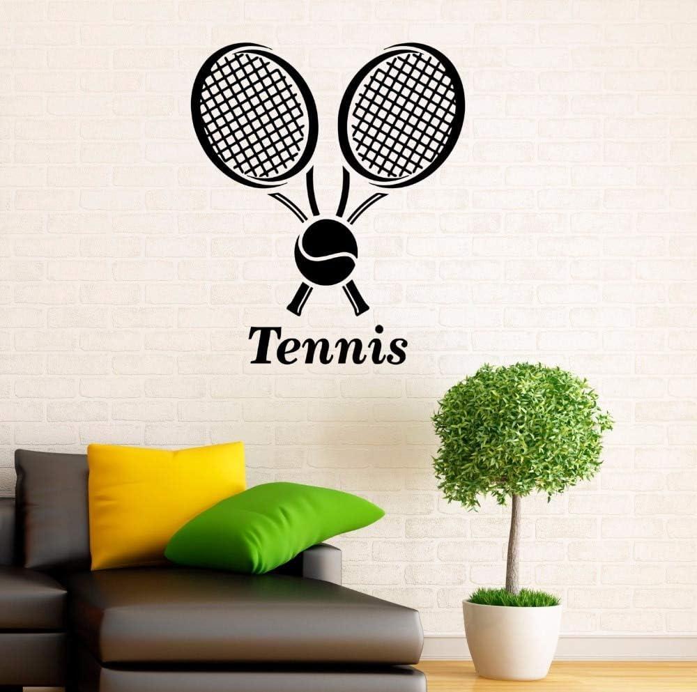 Logotipo del club de tenis etiqueta de la pared gimnasio deportes decoración de interiores tenis vinilo tatuajes de pared raqueta de tenis extraíble decoración del hogar etiqueta A8 57x66cm