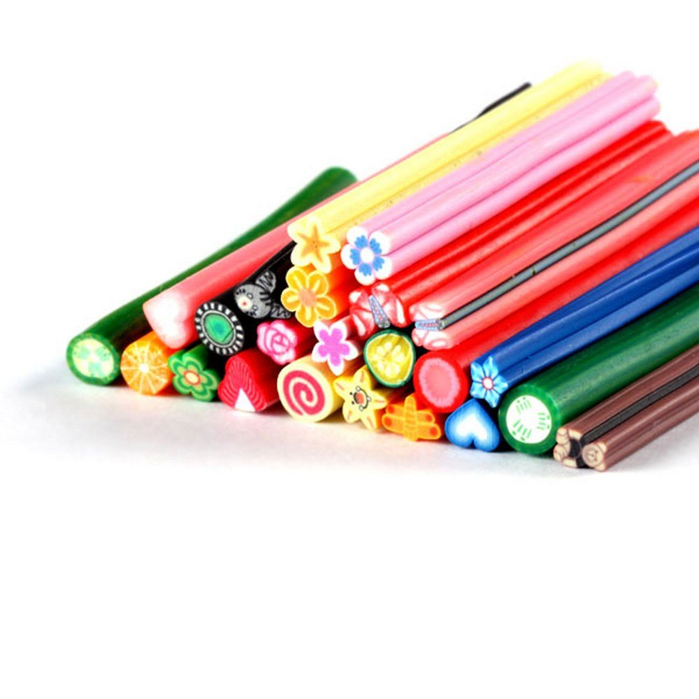 YESURPRISE Cute 25Pc 3D Nail Art Fimo Canes Fruit Slice Stick Rods Polymer Clay Stickers Diy Decoration