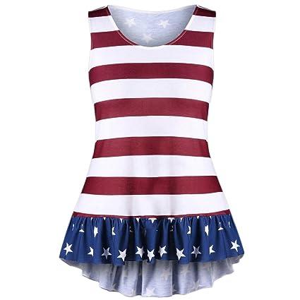 c24b07b345 YJYDADA Fashion Womens Plus Size American Flag Print Ruffles Bowknot  Patriotic Tank Tops (5XL)