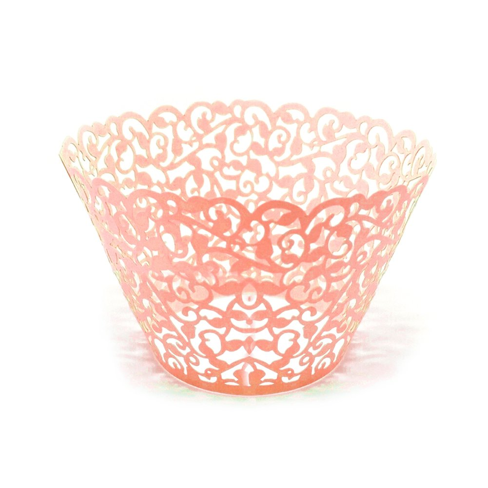 Liangxiang Cupcake Wrappers, 50pcs Filigree Vine Designed Decor Artistic Bake Cake Cups Wrapper Muffin Case Trays for Wedding/Birthday Party Decoration (white)