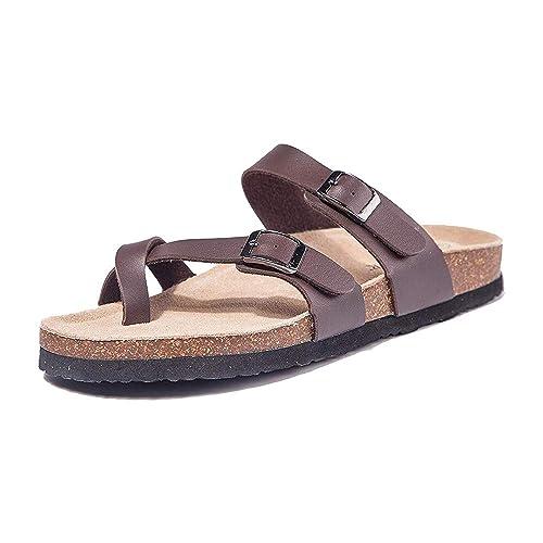 Eu35 Eu43 Sandalias Hebilla Zapatos Tacon Playa Plano Marrón Verano De Caqui Mulas Cuña Romanas Leopardo Chanclas Mujer Correa Negro Cruzar zGUVqpSM