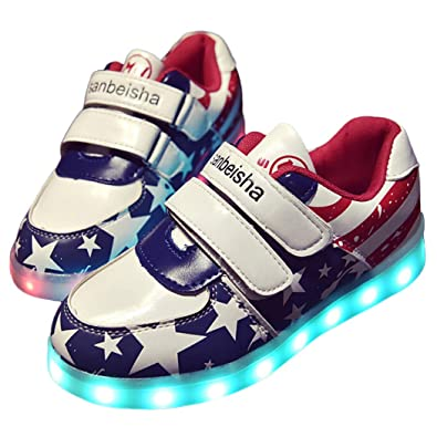 Outgeek Men s and Women s Plastic 7 Color LED Light up Luminous Glowing  Shoes -US Kids 12  Buy Online at Low Prices in India - Amazon.in 3bcb729da723