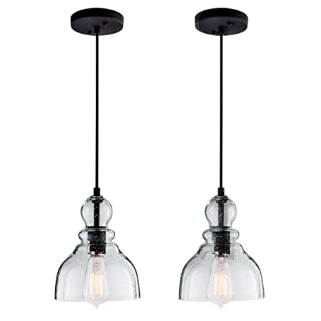 Lanros 2 Pack Industrial Mini Pendant Lights with Handblown Clear Seeded  Glass Shade, Adjustable Bell Pendant Lighting for Kitchen Sink, Kitchen ...